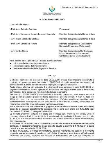 Decisione N. 535 del 17 febbraio 2012 - Arbitro Bancario Finanziario