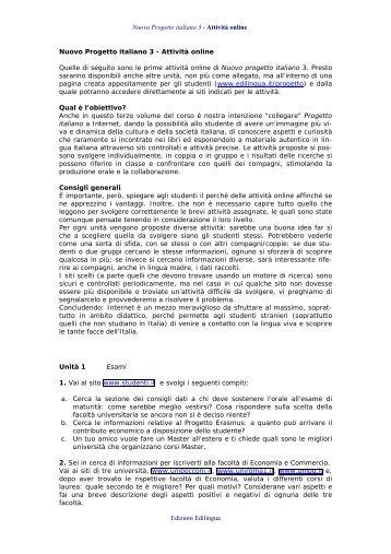 Nuovo Progetto italiano 3 - Attività online Edizioni Edilingua Nuovo ...