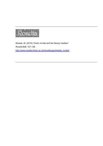Ovid's Invidia and the literary tradition - Rosetta
