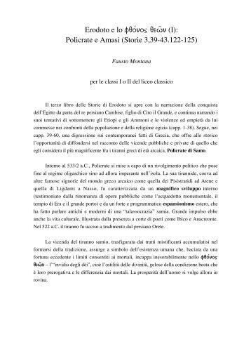 Erodoto e lo fqo/noj qewñ (I): Policrate e Amasi (Storie 3,39-43.122 ...