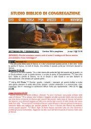 STUDIO BIBLICO DI CONGREGAZIONE Settimana del 7 Gennaio ...