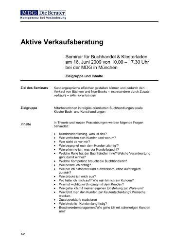 Aktive Verkaufsberatung - MDG