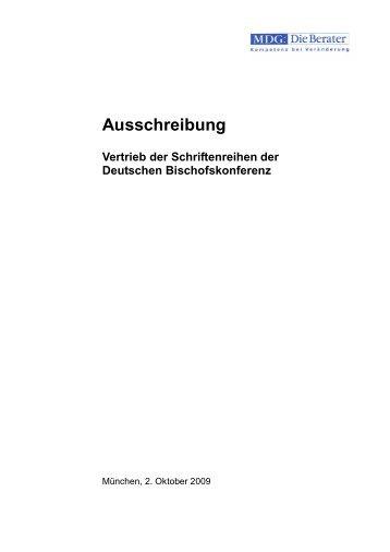 Ausschreibung Vertrieb der Schriftenreihen der Deutschen - MDG