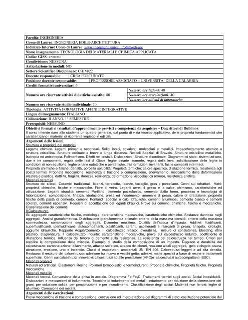 Calendario Esami Ingegneria Unical.Tecnologia Dei Materiali E Chimica Applicata Ingegneria
