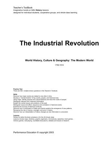 industrial revolution outline The industrial revolution in the eighteenth century: an outline of the beginnings of the modern factory system in england.