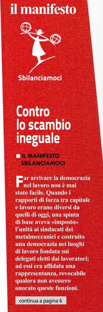 il manifesto Contro lo scambio ineguale - Fiom None Volvera