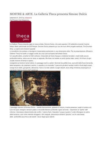 SIMONE DULCIS, settembre 2012 - Theca