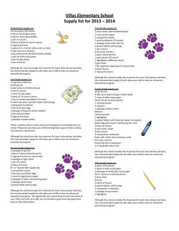 Kindergarten Supply List Lista de materiales del Kinder 1