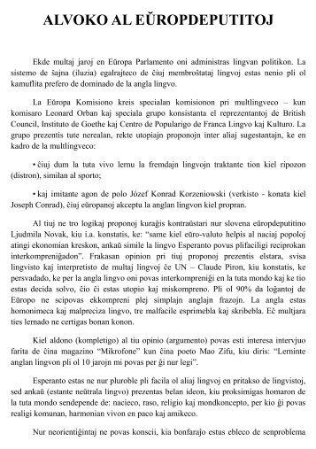 ALVOKO AL EŬROPDEPUTITOJ - Esperanto