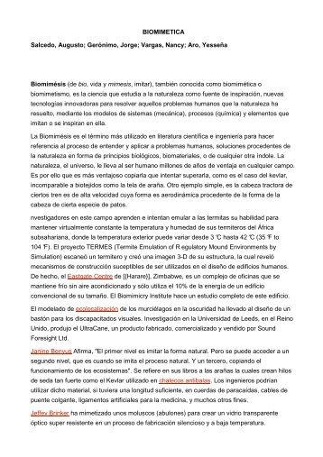 BIOMIMETICA Salcedo, Augusto; Gerónimo, Jorge ... - Centro Herrera