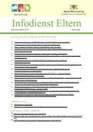 Infodienst Eltern 62, September/Oktober - Zum Kultusportal