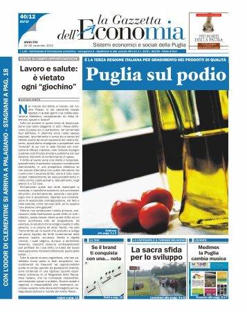 Puglia sul podio - La Gazzetta dell'Economia