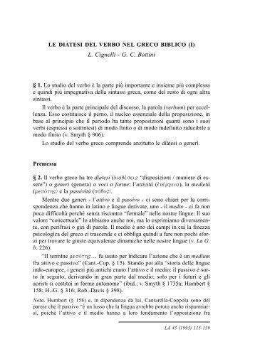 L. Cignelli - G. C. Bottini--Le diatesi del verbo nel greco biblico