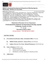 Professional Development & Department Meeting Agenda