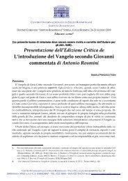 Lett. Provinciale - Centro Internazionale di Studi Rosminiani