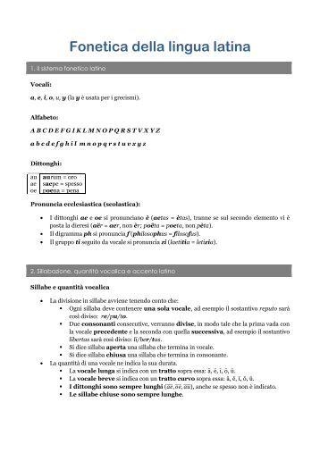 Fonetica della lingua latina - Litterator.it