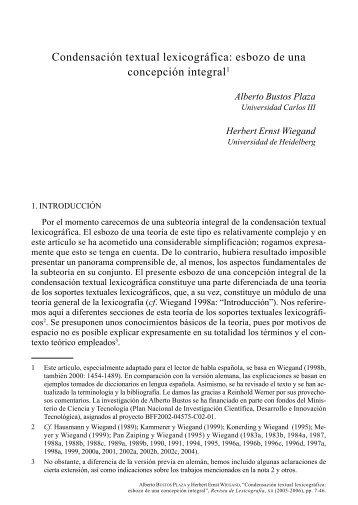 Condensación textual lexicográfica: esbozo de una ... - RUC