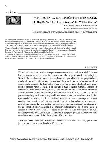 REVISTA EDUCACION EN VALORES.p65 - Portal de Revistas ...