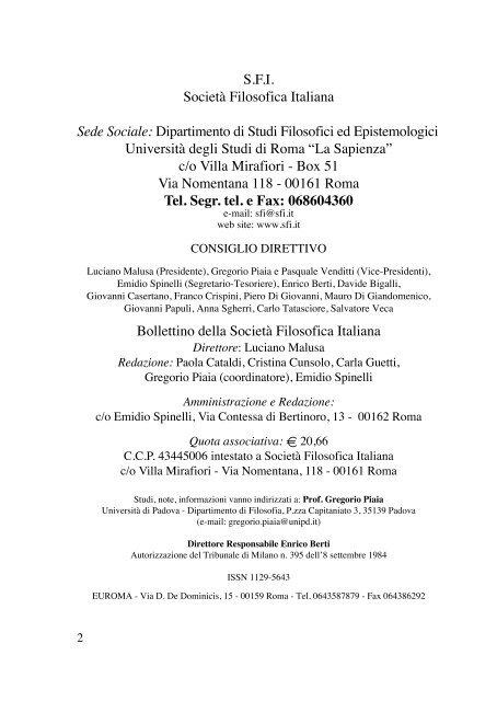 BOLLETTINO 178 - Società Filosofica Italiana