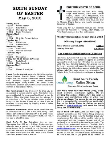 Sixth Sunday of Easter, May 5, 2013 - St. Ann
