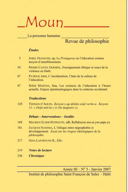 Moun Institut De Philosophie Saint Francois De Sales