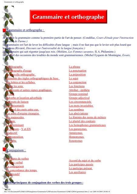 Grammaire et orthographe - Lycée Bounkiling