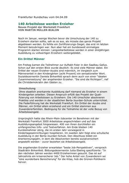04.04.09 - 140 Arbeitslose werden Erzieher 1 - Werkstatt Frankfurt eV