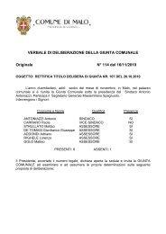VERBALE DI DELIBERAZIONE DELLA GIUNTA COMUNALE Originale N° 114 del 16/11/2010