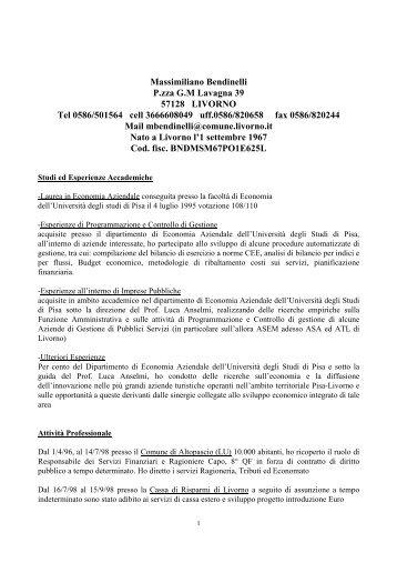 Curriculum dr. Massimiliano Bendinelli - Provincia di Lucca