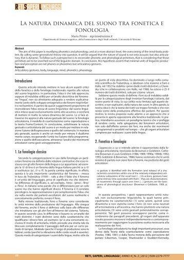 La natura dinamica del suono tra fonetica e fonologia - CORISCO