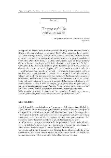 Teatro e follia - Dipartimento di Storia dell'Arte e Spettacolo