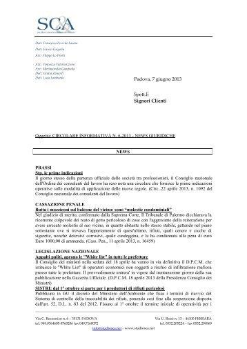 sca - circolare informativa n. 6-2013 - news giuridiche.pdf - Studio ...
