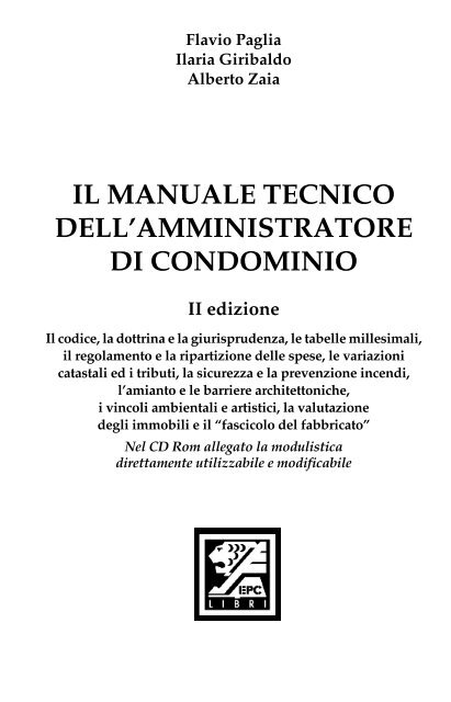 Il Manuale Tecnico Dell Amministratore Di Condominio Epc