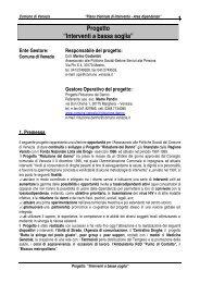 """1 Progetto """"Interventi a bassa soglia"""" - Comune di Venezia"""