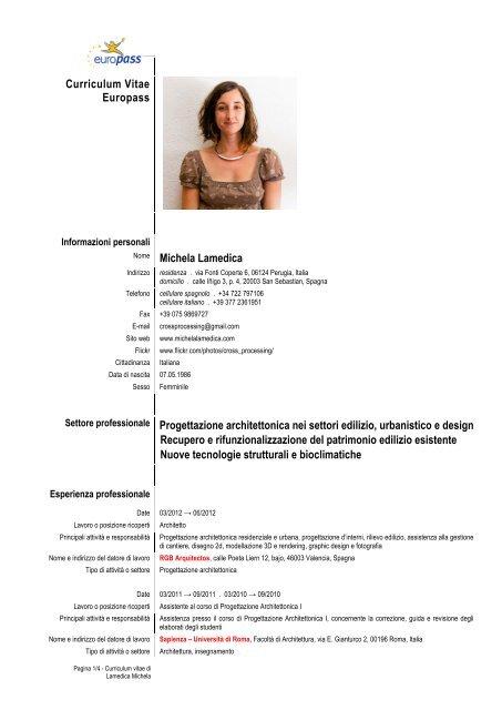 curriculum vitae europass nome michela lamedica