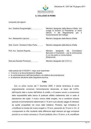 Decisione N. 1247 del 16 giugno 2011 - Arbitro Bancario Finanziario