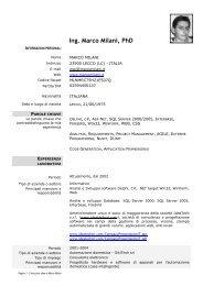 Curriculum in Italiano - Marco Milani