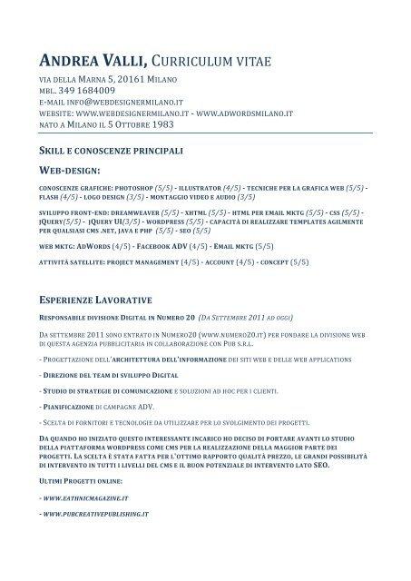 Andrea valli curriculum vitae web designer freelance milano for Web designer milano