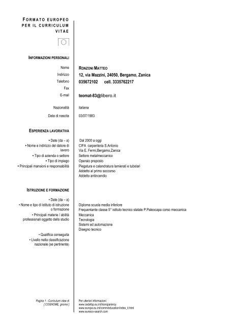 Formato Europeo Per Il Curriculum Vitae Modello Itis Pietro