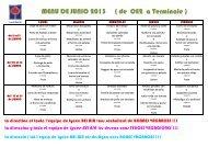 MENU DE JUNIO 2013 ( de CE2 a Terminale ) - Ecole Bel-Air