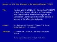 In vitro activity of NXL104 (formerly AVE1330A) - Novexel