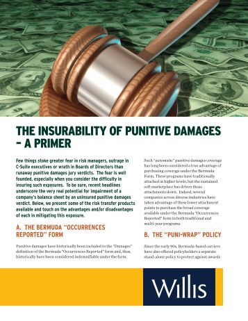 THE INSURABILITY OF PUNITIVE DAMAGES – A PRIMER - Willis