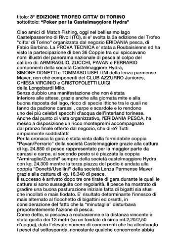 """3° EDIZIONE TROFEO CITTA' DI TORINO sottotitolo: """"Poker per la ..."""
