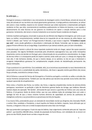 editorial - victor gomes pereira - Guin-Bissau: CONTRIBUTO