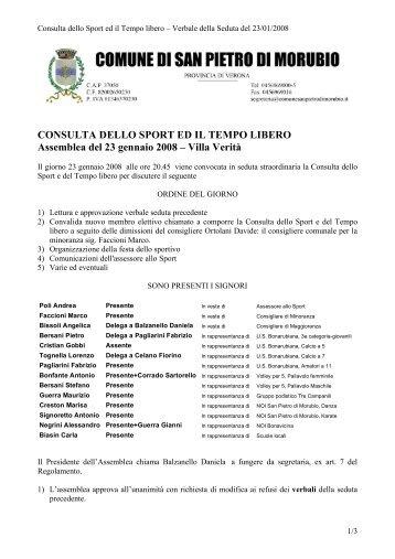 Verbale n. 2 del 23/01/2008 - Comune di San Pietro di Morubio