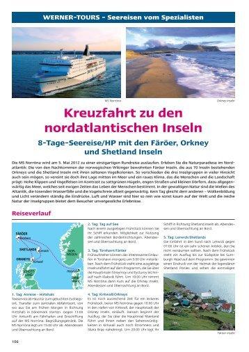 Reiseverlauf Kreuzfahrt zu den nordatlantischen Inseln