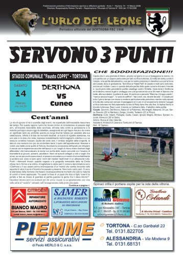 N° 10 del 14/03/2009 - Derthona calcio