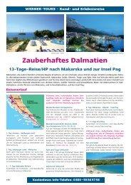 Zauberhaftes Dalmatien 13-Tage-Reise/HP nach Makarska und zur ...