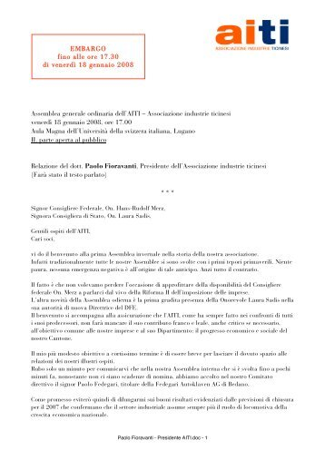 Associazione industrie ticinesi venerdì 18 gennaio 2008, ore ... - AITI