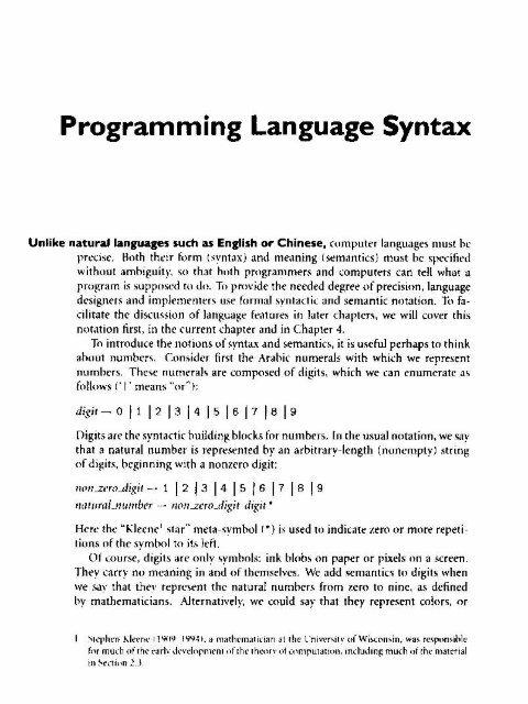 Programming Language Syntax